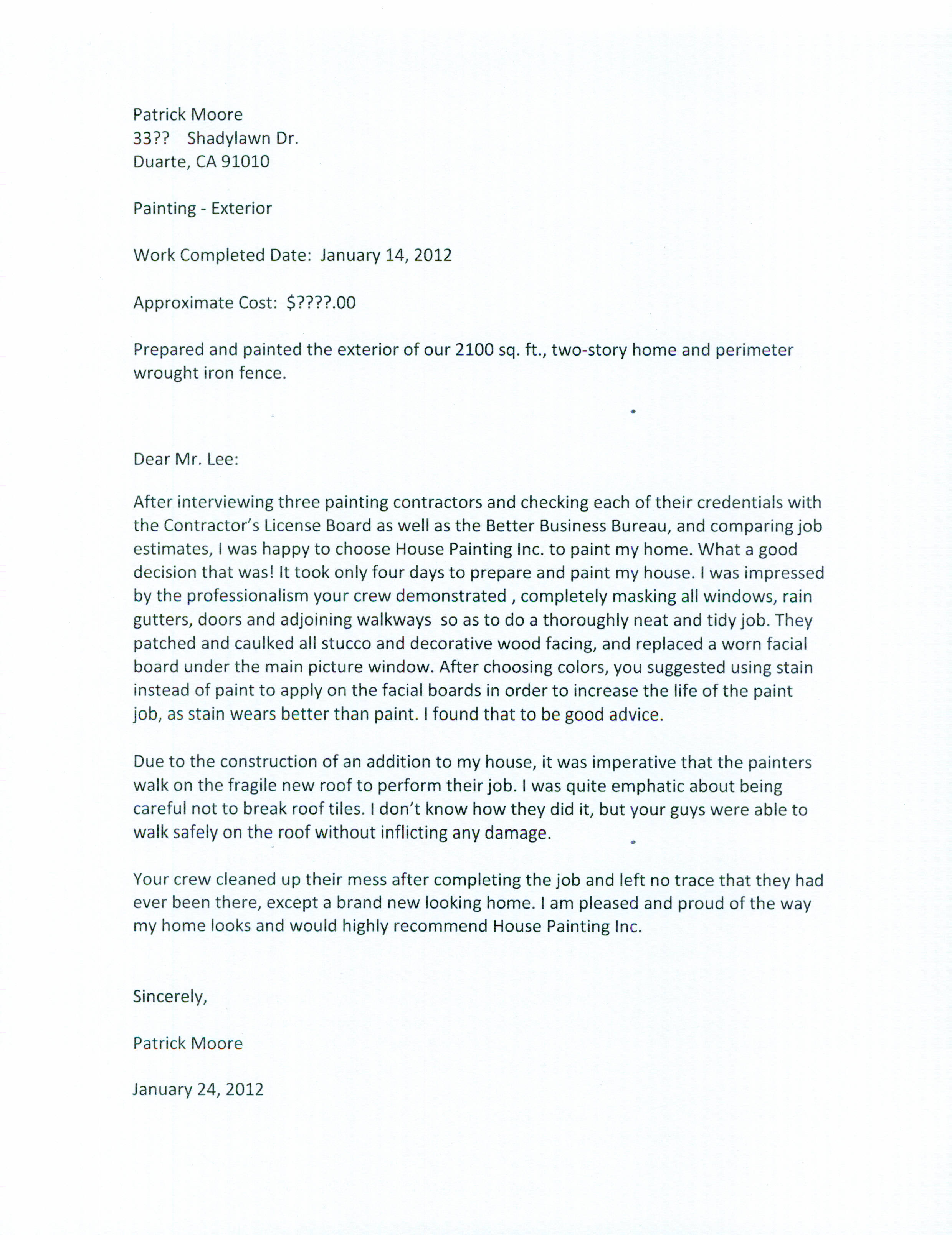 cover letter example cover letter examples for painting job