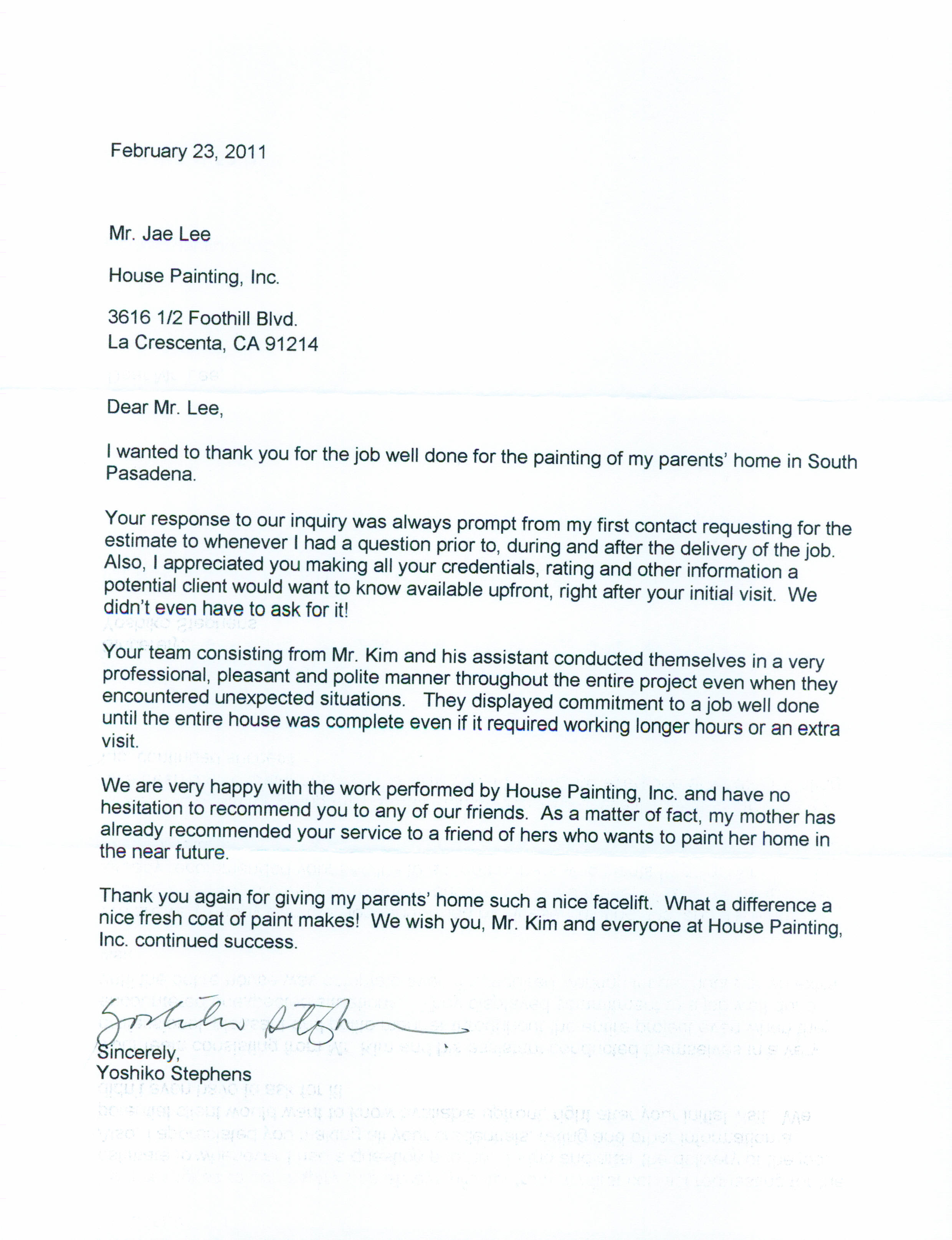 happy letter from customer indiana av south pasadena ca 91030 a
