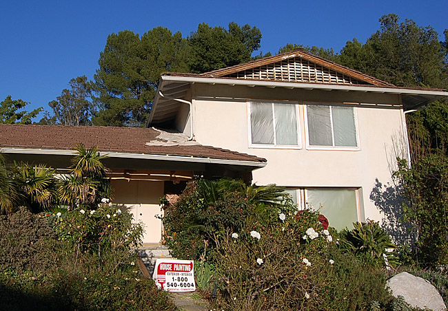 Exterior painting of house in progress in Cheviot Hills, CA 90064