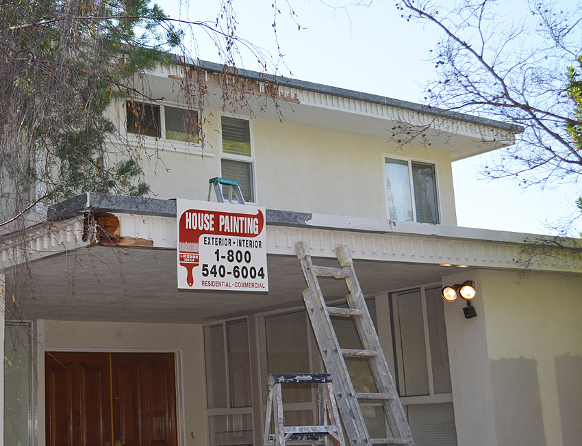 Wood prep work on decorative fascia in North Hollywood